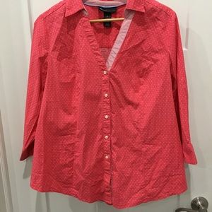 Lane Bryant v neck button down polka dot blouse